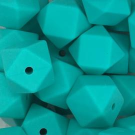 Siliconenkraal Hexagon 14mm Turquoise