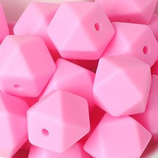 Siliconenkraal Hexagon 14mm Roze