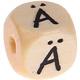 Houten letterkraal 10mm gegraveerd -Ä-