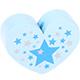 Hartje (XL) Babyblauw met sterretjes