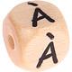 Houten letterkraal 10mm gegraveerd -À-