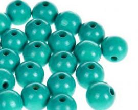 Houtenkraal ø8mm Turquoise 20st.