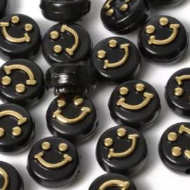 Smileykraal Rond 10x6mm Zwart-Goud