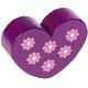 Hartje (XL) Violet met bloemetjes