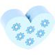 Hartje Groot Babyblauw met bloemetjes