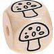 Houten kraal 10mm gegraveerd -paddenstoel-