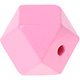 Houtenkraal 18mm Hexagon Roze