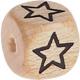 Houten kraal 10mm gegraveerd -sterretje open-