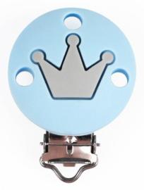 Siliconenclip IJsblauw met kroontje