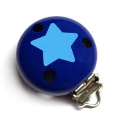 Speenclip Donkerblauw & Ster Lichtblauw