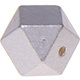 Houtenkraal 18mm Hexagon Zilver