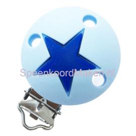 Siliconenclip IJsblauw met ster