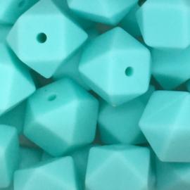 Siliconenkraal Hexagon 14mm Lichtturquoise