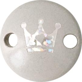 Midiclip Glitterkroontje Lichtgrijs