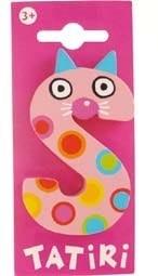 Tatiri houten letters / dierenalfabet - S (roze)
