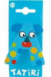 Tatiri houten letters / dierenalfabet - A (blauw)