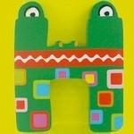 Tatiri houten letters / dierenalfabet - H (groen)