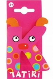 Tatiri houten letters / dierenalfabet - K (roze)