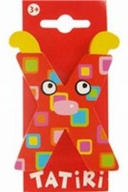 Tatiri houten letters / dierenalfabet - X (rood)