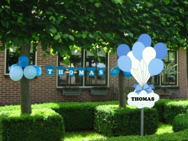 Geboorteborden - blauwe ballonnen met naambord