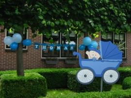 Geboorteborden - babyjongen in kinderwagen