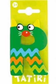 Tatiri houten letters / dierenalfabet - R (groen)