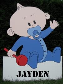 Geboorteborden - babyjongen met naambord