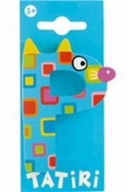 Tatiri houten letters / dierenalfabet - P (blauw)