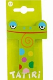 Tatiri houten letters / dierenalfabet - T (groen)