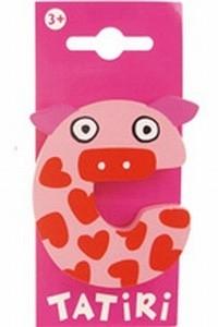 Tatiri houten letters / dierenalfabet - C (roze)