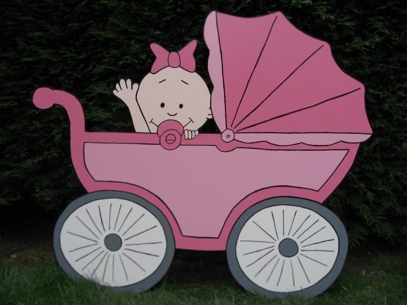 Geboorteborden - babymeisje in kinderwagen