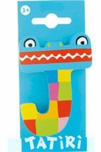 Tatiri houten letters / dierenalfabet - J (blauw)