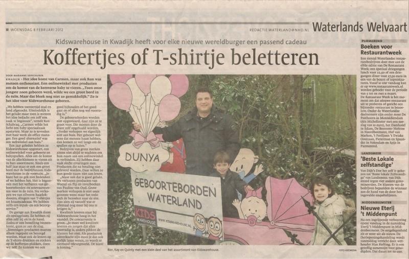 Kidswarehouse in het Dagblad Waterland van het NoordHollands Dagblad
