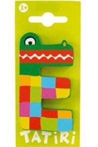 Tatiri houten letters / dierenalfabet - E (groen)