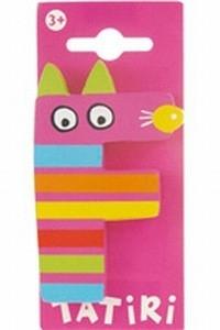 Tatiri houten letters / dierenalfabet - F (roze)
