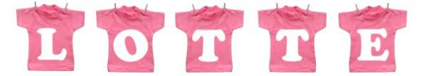 Waslijntje van mini t-shirt met de naam van de baby