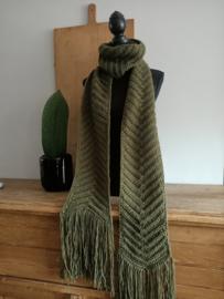 Lange Sjaal met franjes Groen