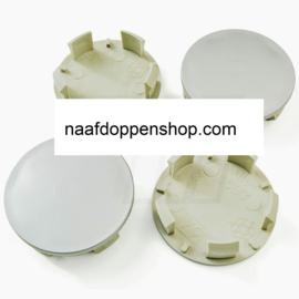 Set van 4 zilvergrijze naafdoppen, buitenmaat doorsnede 54,5 mm en klemmaat 50 mm
