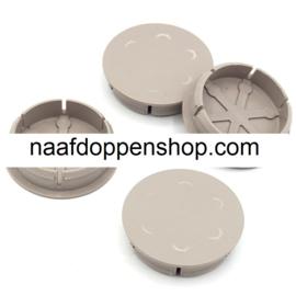 Set van 4 grijze naafdoppen, buitenmaat doorsnede 49 mm en klemmaat 42,5 mm