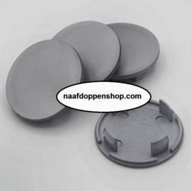 Set van 4 zilvergrijze naafdoppen, buitenmaat 60 mm en klemmaat 49 mm
