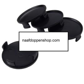 Set van 4 zwarte naafdoppen, buitenmaat doorsnede 74 mm en klemmaat 72 mm