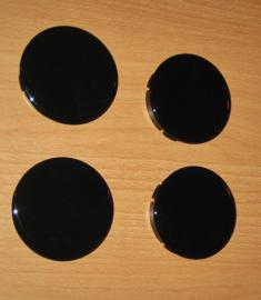 Set van 4 naafdoppen met zwart glanzend siliconen embleem, buitenmaat 60 mm, klemmaat 56/56,5 mm