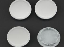Set van 4 zilvergrijze naafdoppen, buitenmaat 70  mm en klemmaat 58/58,5 mm