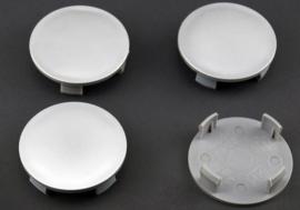 Set van 4 zilvergrijze naafdoppen, buitenmaat 63 mm en klemmaat 57,5 mm