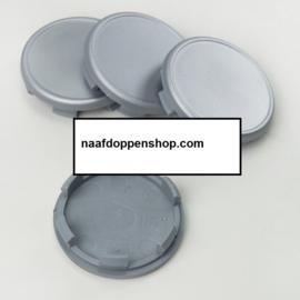 Set van 4 zilvergrijze naafdoppen, buitenmaat doorsnede 59 mm en klemmaat 55 mm