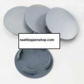 Set van 4 zilvergrijze naafdoppen, buitenmaat doorsnede 56 mm en klemmaat 46 mm