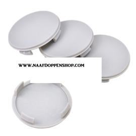 Set van 4 licht gebolde grijze naafdoppen, buitenmaat 60 mm en klemmaat 56 mm