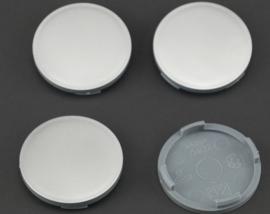 Set van 4 zilvergrijze naafdoppen, buitenmaat 63,1 mm en klemmaat 61 mm