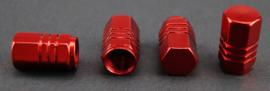 Set van vier alu ventieldopjes in rood metallic, zeskantig model