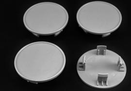 Set van 4 grijze naafdoppen, buitenmaat doorsnede 64,5 mm en klemmaat 48 mm